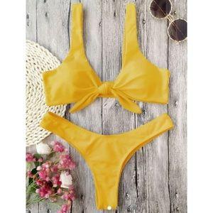 ZAFUL yellow front tied ruched thong bikini (L)
